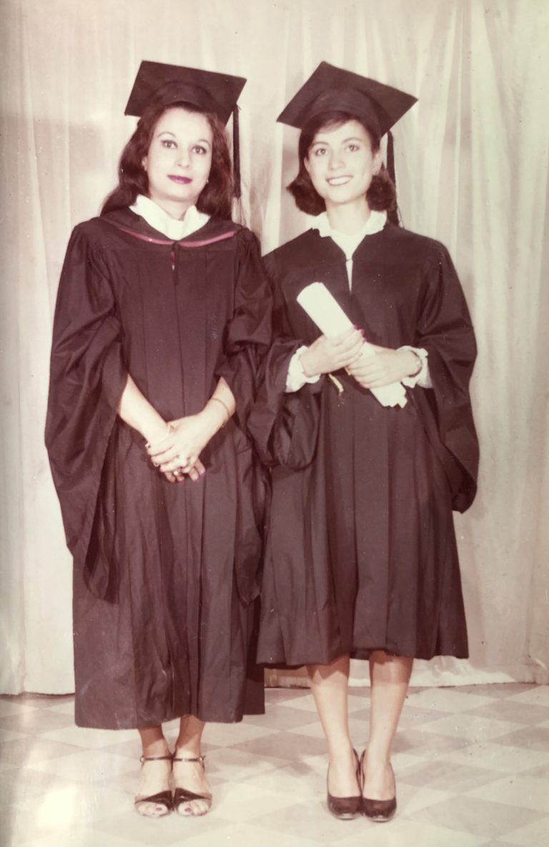 Nagla Rizk '83, '87 (right) with her late mother Madiha El Safty '72, '76